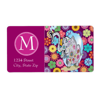 Cute Hippie Elephant with Colorful Flowers Label