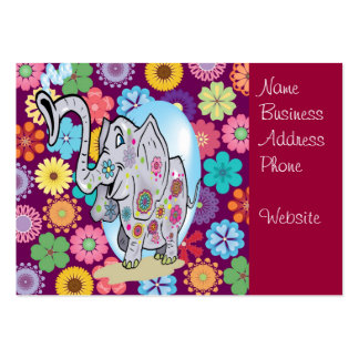 Cute Hippie Elephant with Colorful Flowers Large Business Card