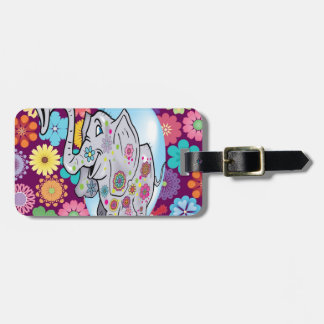 Cute Hippie Elephant with Colorful Flowers Luggage Tag