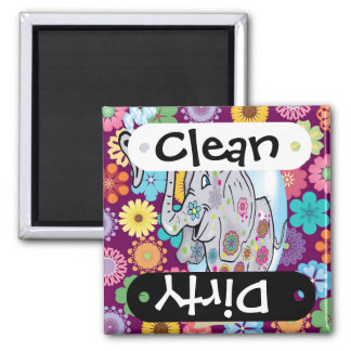 Cute Hippie Elephant with Colorful Flowers Fridge Magnet
