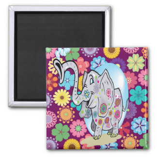 Cute Hippie Elephant with Colorful Flowers Magnet