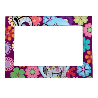 Cute Hippie Elephant with Colorful Flowers Magnetic Frame