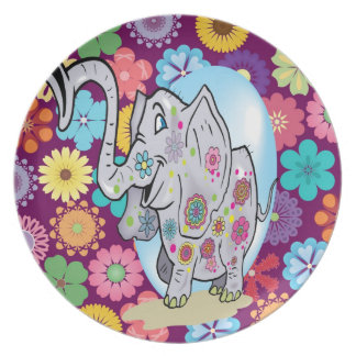 Cute Hippie Elephant with Colorful Flowers Melamine Plate