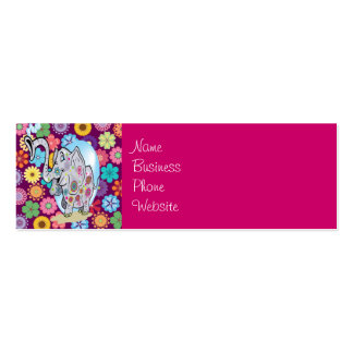 Cute Hippie Elephant with Colorful Flowers Mini Business Card