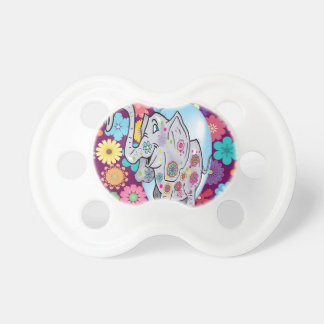 Cute Hippie Elephant with Colorful Flowers Pacifier