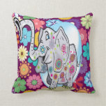 Cute Hippie Elephant with Colorful Flowers Throw Pillows