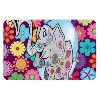 Cute Hippie Elephant with Colorful Flowers Vinyl Magnets