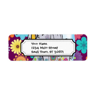 Cute Hippie Elephant with Colorful Flowers Return Address Label