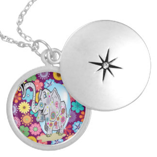 Cute Hippie Elephant with Colorful Flowers Silver Plated Necklace