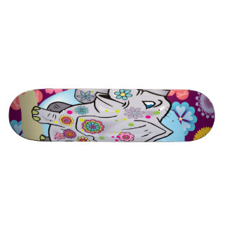 Cute Hippie Elephant with Colorful Flowers Skateboard