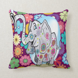 Cute Hippie Elephant with Colorful Flowers Throw Pillow
