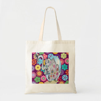 Cute Hippie Elephant with Colorful Flowers Tote Bag