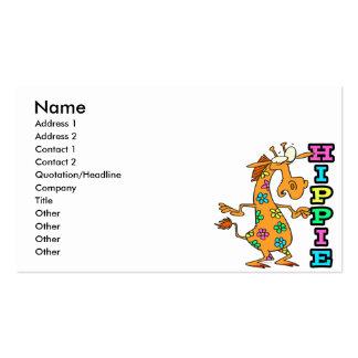 cute hippie flowers giraffe cartoon character business card