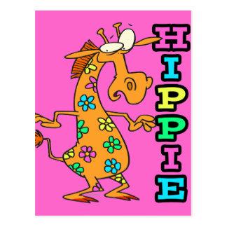 cute hippie flowers giraffe cartoon character postcard
