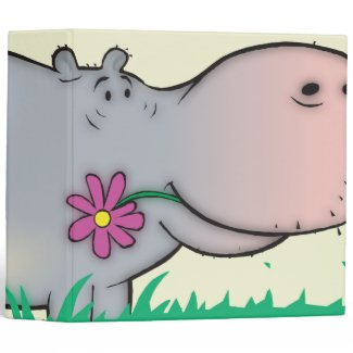 cute hippie hippo notebook binder