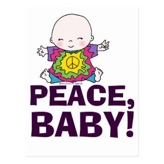 Cute Hippie / Hippy Tie Dye Peace Baby Postcard