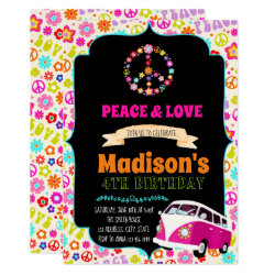 Cute hippie party invitation