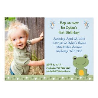 Cute Hippity Frog Custom Birthday Invitations