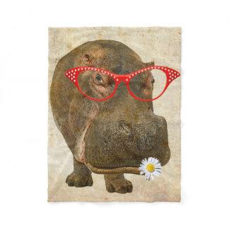 Cute Hippo Baby Fleece Blanket!