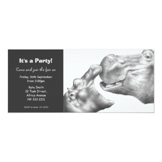 Cute Hippo & Baby Party Invitation