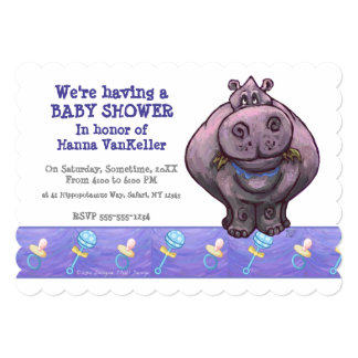 Cute Hippo Baby Shower Card