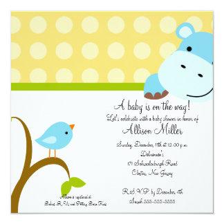 Cute Hippo & Birdie Baby Shower Personalized Invitation