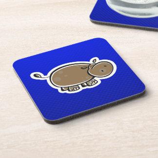 Cute Hippo; Blue Beverage Coaster