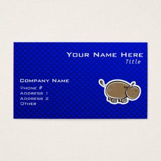 Cute Hippo; Blue Business Card