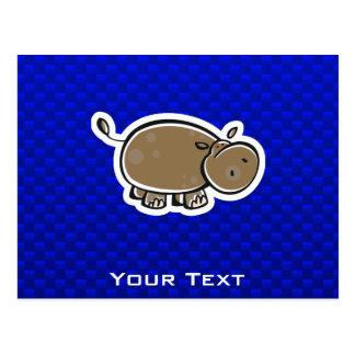 Cute Hippo; Blue Postcard