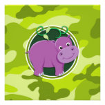 Cute Hippo; bright green camo, camouflage Personalized Announcements