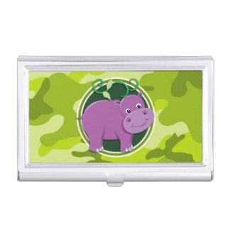 Cute Hippo; bright green camo, camouflage Business Card Cases