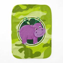 Cute Hippo; bright green camo, camouflage Burp Cloth