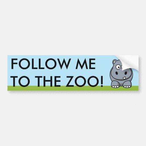 Cute Hippo Bumper Stickers