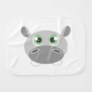 Cute Hippo Cartoon Burp Cloth