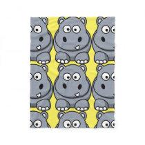 Cute Hippo Cartoon Fleece Blanket