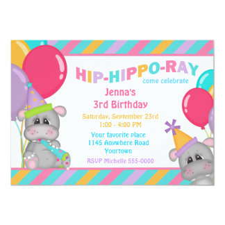 Cute Hippo Child's Birthday Card