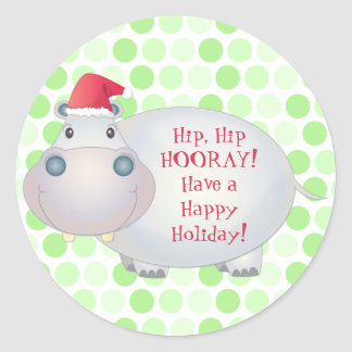 Cute Hippo Christmas Stickers
