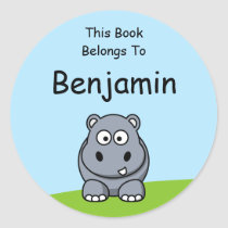 Cute Hippo Classic Round Sticker