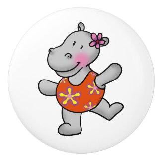 cute hippo girl in swim suit ceramic knob