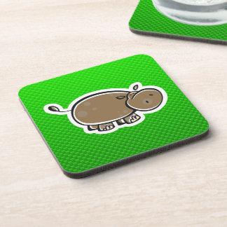 Cute Hippo; Green Beverage Coaster