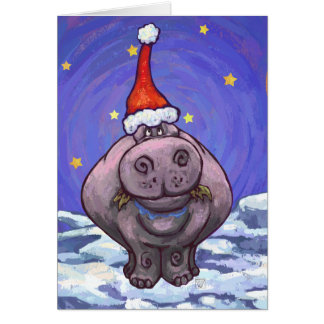 Cute Hippo Holiday Greeting Card