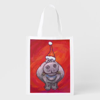 Cute Hippo in Santa Hat on Red Grocery Bag