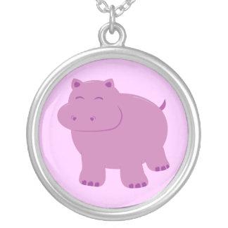 Cute Hippo Round Pendant Necklace