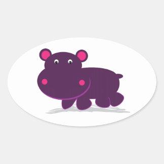 Cute Hippo Oval Sticker