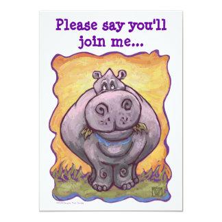 Cute Hippo Party Invitation