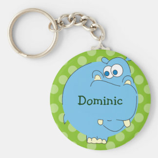 Cute Hippo Personalized Kids Name Keychains