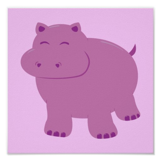 Cute Hippo Poster