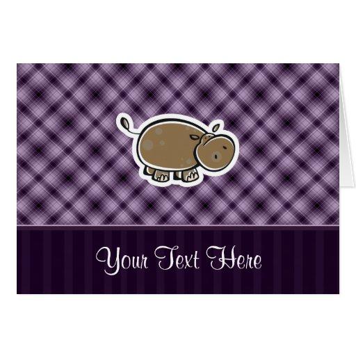Cute Hippo; Purple Greeting Card