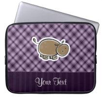 Cute Hippo; Purple Laptop Sleeve