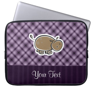 Cute Hippo; Purple Computer Sleeves